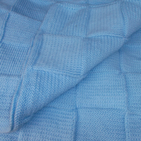 Knitted Blue Square Blanket or Throw