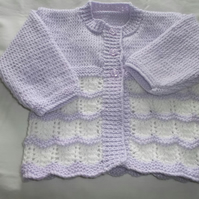 Lilac and Cream Cardigan 6-12 months