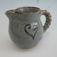 Small hand thrown cream jug - heart motif