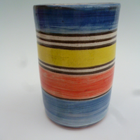 Pottery cylindrical vase or pencil holder