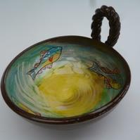 Small tapas bowl with looped handle - fish design