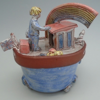 Ceramic Brexit Fishing Boat