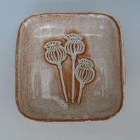 Small Ceramic Dish with seed head design