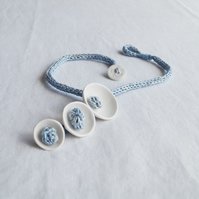 KNOT POD white porcelain necklace, blue knitted i-cord, mixed media textile