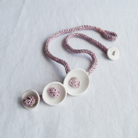 KNOT POD white porcelain necklace, pink knitted i-cord, scandi minimal
