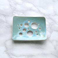 BUBBLE holes ceramic soap dish, porcelain, aqua glaze
