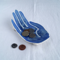 Porcelain PALM ceramic hand coin dish, matt blue, black, midnight, golden black