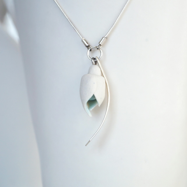 SNOWDROP porcelain necklace, sterling silver leaf charm and snake chain
