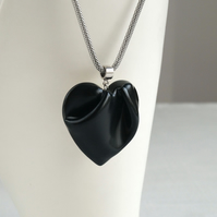 Black heart necklace, porcelain and stainless steel mesh snake chain