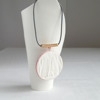 Long necklace, RUCHED No18 porcelain circle, pink glaze