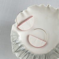 Half moon earrings, RUCHED No12 porcelain, sterling silver, pink glaze