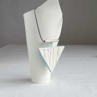Long necklace, RUCHED No17 porcelain triangle, blue glaze