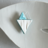 RUCHED No10 geometric heart brooch, jade glaze, porcelain triangles