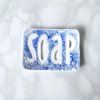 Ceramic porcelain TYPO soap dish bubble texture, Cobalt blue