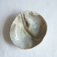 GATHERED No2 porcelain linen bowl, oval white beige gold lustre