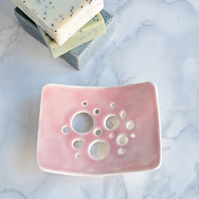 Porcelain BUBBLE holes soap dish, pink glaze