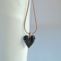 Small black HEART necklace porcelain ceramic, 304 stainless steel, copper