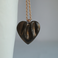 Large bronze HEART necklace, porcelain copper gold plated stainless steel chain