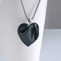 Large black heart necklace, porcelain and stainless steel mesh snake chain