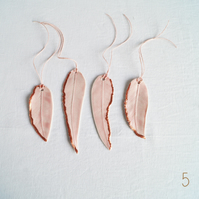 Four porcelain FEATHER decorations to hang on Christmas tree, pink white glaze