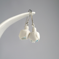 Porcelain SNOWDROP dangle earrings, sterling silver wires