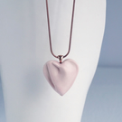 Medium rose HEART necklace porcelain rose gold 304 stainless steel snake chain