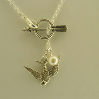Whimsical Arrow with Bird Charm Glass Pearl Lariat Silver Necklace