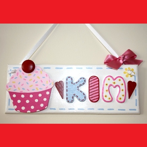 Small 'Cupcake' Personalised Hand Painted Plaque