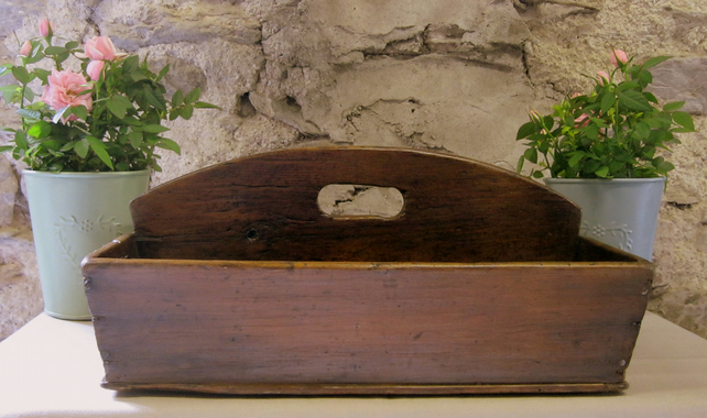SOLD - Antique-Vintage Wooden Cutlery Box