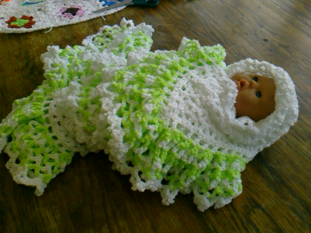 Baby Crochet Blanket and Shawl  Cuddle blanket (nannycheryl original) ID 762(B)