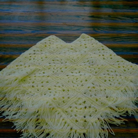 YELLOW SQUARE CROCHET PONCHO WITH FRINGE EDGING  ID 723