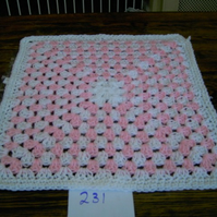 CROCHET chunky BLANKET for Premature  Baby or Doll Pink and White   ID 739 cjh25
