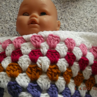 CROCHET BLANKET for Premature Baby or Doll   (nannycheryloriginals) 740 cjh  S12