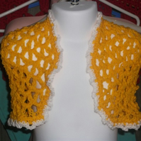 "HANDMADE crochet bolero yellow  orange  with white trim chest 20""    897 cjh24"