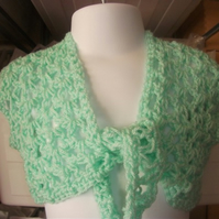 "HANDMADE Crochet bolero in Lace look style  chest 18""       917 cjh24"