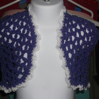 "HANDMADE Crochet Purple lace look Bolero  chest 18""        898 cjh24"