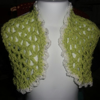 "HANDMADE Crochet spring green crochet bolero lace look  Chest 20""   892 cjh24"