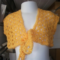 "HANDMADE warm orange crochet lace look bolero  chest 20"" tie front     914 cjh24"