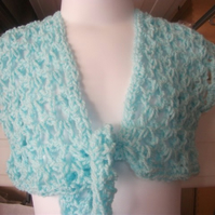 "HANDMADE Pale Blue lace look crochet bolero  chest 18""    913  cjh24"