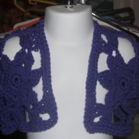 "HANDMADE Purple crochet flower panel   chest 24""      883  cjh24"