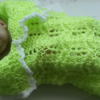 PREM BABY OR DOLL CROCHET COCOON, HAT, SHAWL  SET          ID 822 (B)