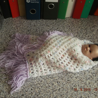 CROCHET SHAWL for Premature Baby or Doll  (nannycheryloriginals) 827 cjh S12