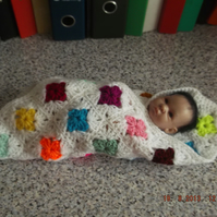 CROCHET BLANKET for Premature Baby or Doll   (nannycheryloriginals) 818 cjh S12