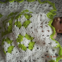 CROCHET BLANKET for Prem Baby or Doll  (nannycheryl original)  828 cjh7