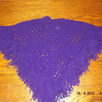 PURPLE BABY CROCHET PONCHO WITH FRINGE EDGING  ID NC80