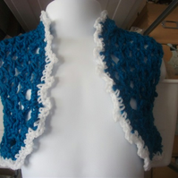 HANDMADE CHILDS blue white CROCHET BOLERO by (nanny cheryl original)   915 cjh36