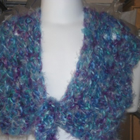 HANDMADE CHILDS CROCHET BOLERO chunky fluffy multi coloured      918 cjh24