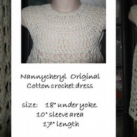 HANDMADE Stone colour COTTON CROCHET DRESS    967 cjh20