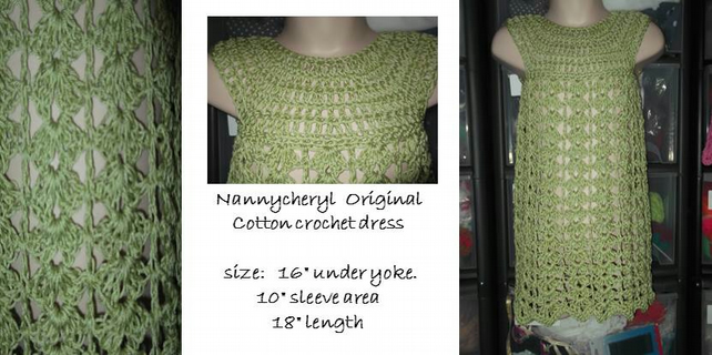 HANDMADE COTTON CROCHET DRESS     ID 970H   (box 25)