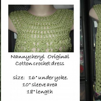 HANDMADE green cotton lace look crochet dress   nanny cheryl originals 970 cjh20